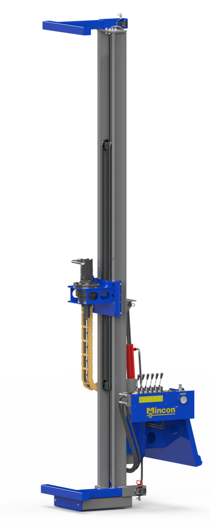 A drilling mast attachment for rock drilling on a skid steer