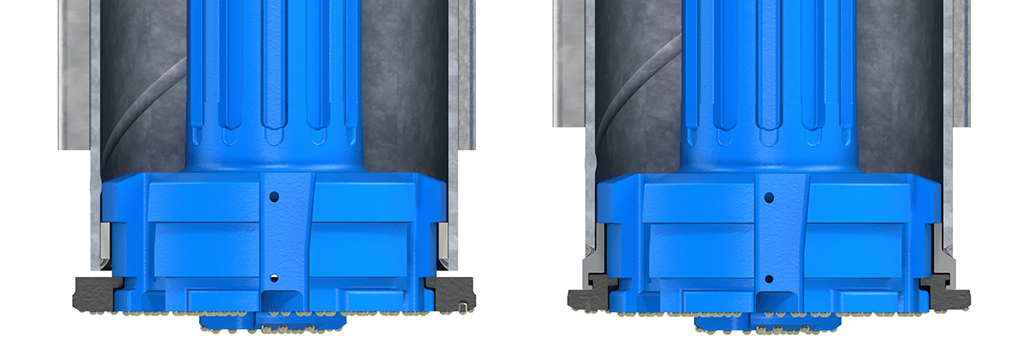 Integrated M-Wall system: ring bit is permanently connected to the casing shoe.